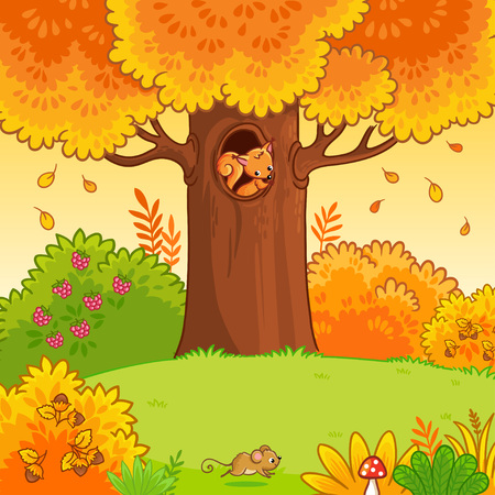 The squirrel sits in a hollow. Autumn forest in cartoon style. Vector illustration with a cute animal.