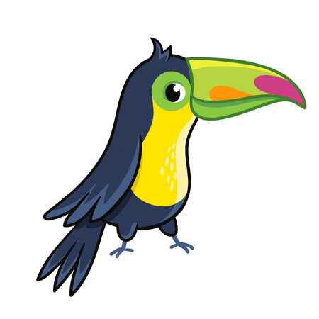 Cute toucan on white background. Vector illustration with a bird in cartoon style.