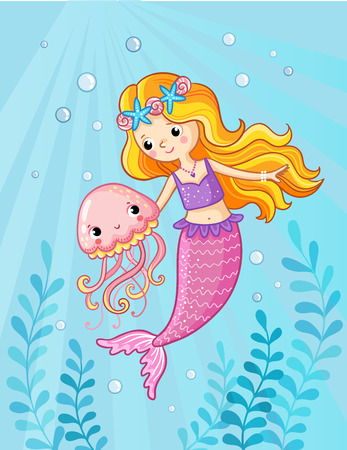 Mermaid with a jellyfish under water. Vector illustration of a cartoon style on a childrens theme. Picture with the sea.