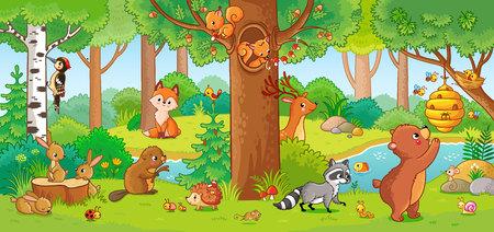 ●子供風の可愛い森動物を用いてベクターイラスト。森の中の哺乳類のセット。子供のスタイルでコレクション。 写真素材 - 104120684