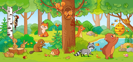 Vector illustration with cute forest animals in a children's style. A set of mammals in the forest. Collection in the children's style.