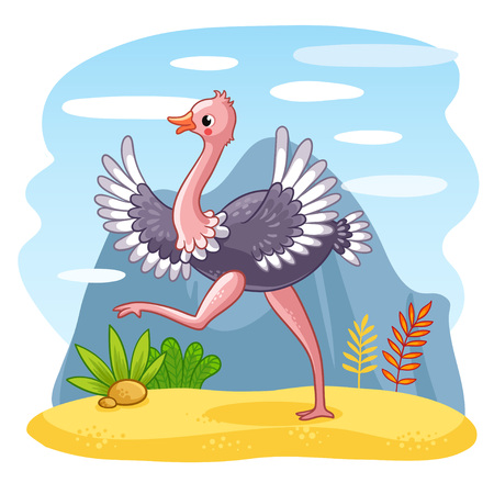 Ostrich is walking along a sandy glade. Vector illustration with an African bird. Cute animal in the cartoon style.