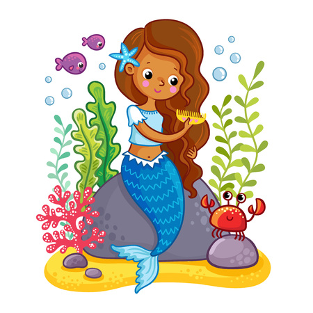 The mermaid sits on a rock and combs. Vector illustration of a cartoon style on a childrens theme.