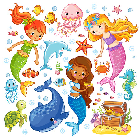 Vector set with animals and mermaids. Picture in the cartoon style. Ilustração