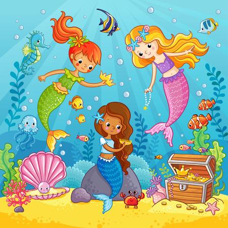 Las sirenas juegan bajo el agua. Ilustración de vector sobre un tema de mar en estilo de dibujos animados. Cuadro con peces bajo el agua.