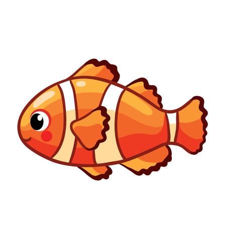 Peces de mar de colores. Pez payaso o pez anémona aislado sobre fondo blanco.