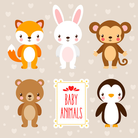 Vector set with cute animals in cartoon style. Illustration in the children's style and place under the text.