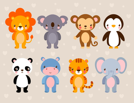 Vector set with cute animals. Illustration in a cartoon style on a children's theme.
