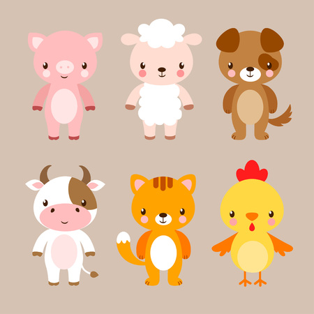 Vector set with cute animals in cartoon style. Illustration in a children's style on a beige background.