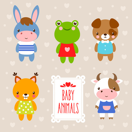 Vector set with cute animals in cartoon style. Illustration in a children's style on a beige background. and place under the text.