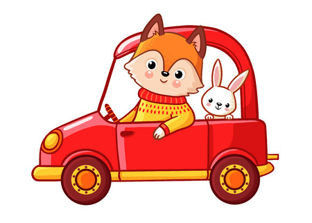 Fox with a hare ride on a red car. Vector illustration with cute animals on a white background.