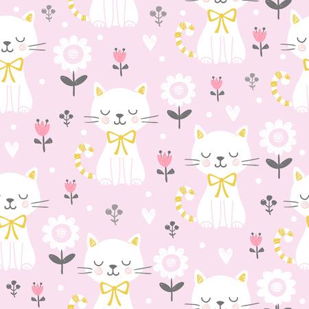 Bezszwowe ilustracja wektorowa z ładny kot na różowym tle. Obrazek w stylu dziecięcym, kreskówkowy. Ilustracje wektorowe