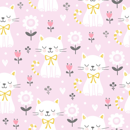 Vector seamless illustration with a cute cat on a pink background. Picture in the children's, cartoon style. 矢量图像