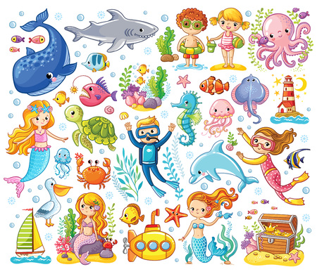 Vector set on a sea theme in a children's style. Sea animals. Çizim