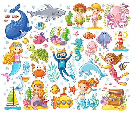 Wektor zestaw na temat morza w stylu dla dzieci. Zwierzęta morskie.
