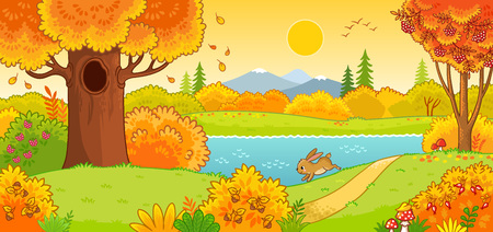 Cute hare running through the autumn forest. Vector illustration with an animal in a cartoon style. Ilustração