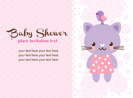 Baby shower invitation card with cat. Vector illustration with cute cat in cartoon style.