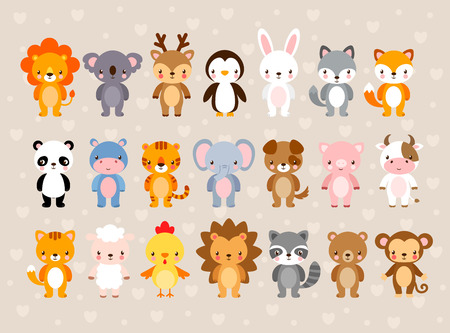 Big vector set with cute animals. Illustration in a cartoon style on a childrens theme. Ilustração