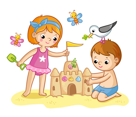Girl and a boy are building a castle from the sand. Kids are playing. Vector illustration in a cartoon style.