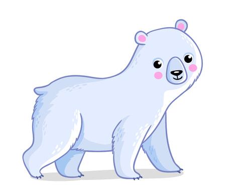 Polar bear on a white background. Vector illustration with a cute polar animal.