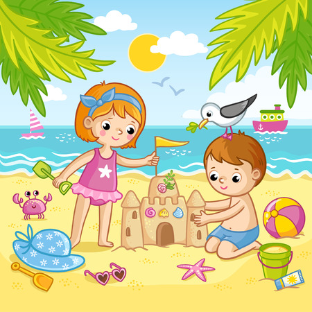 Boy and a girl are building a castle from the sand. Children playing on the beach by the sea. Vector illustration in children s style.