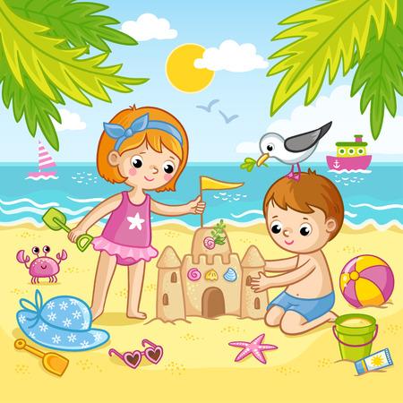 Junge und Mädchen bauen aus dem Sand eine Burg. Kinder spielen am Strand am Meer. Vektorillustration im Kinderstil. Vektorgrafik