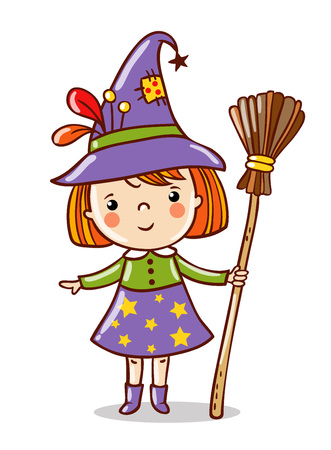 Cute funny witch stand on a white background. Halloween vector character in a cartoon style. Ilustração