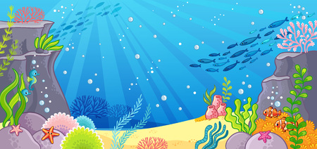 Sea bottom. Vector illustration with a background in cartoon style. Depths of the ocean.