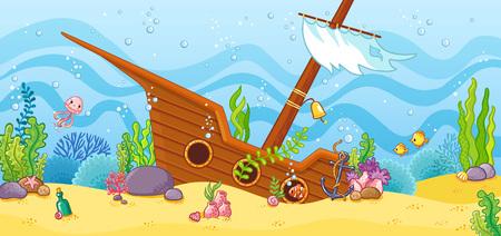 Zatopiony statek na dnie morza. Ilustracja wektorowa z żaglówką w stylu cartoon. Ilustracje wektorowe