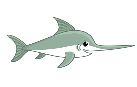 Swordfish on a white background. Vector illustration with a fish in cartoon style. Marlin on a children's theme.