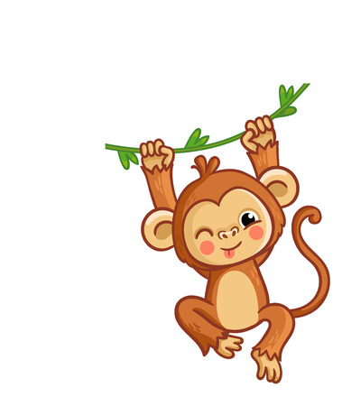 The monkey winks. The animal is hanging on the liana. Cute chimpanzee on a white background in cartoon style.
