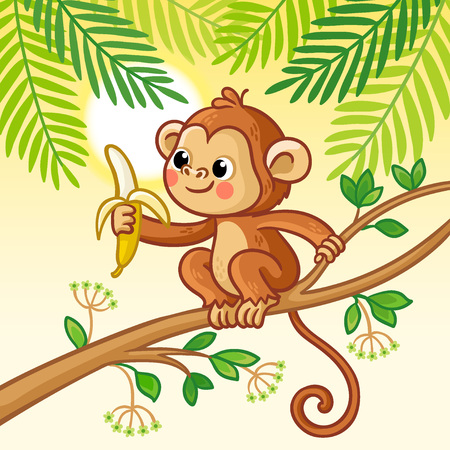 Monkey sits on a tree and eats a banana. Cute animal in cartoon style. Vector illustration. Illustration