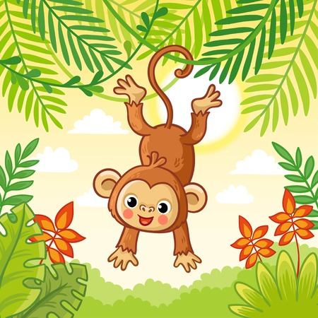 Monkey jumping on the trees. Cute animal in a cartoon style. Vector. Macaque in nature. Illustration