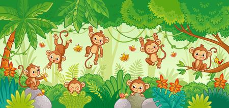 Vector set with monkey in various poses on jungle background. Macaques among the trees. Cute vector animal.