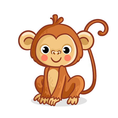 Monkey on a white background. Vector illustration in cartoon style. Cute animal.