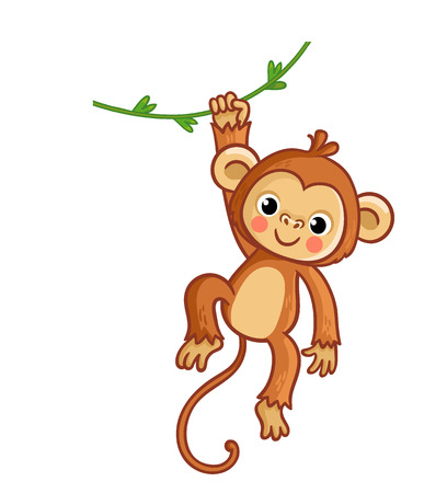 Affe, der an der Liane hängt. Vektorillustration im Cartoon-Stil. Süßes Tier. Vektorgrafik