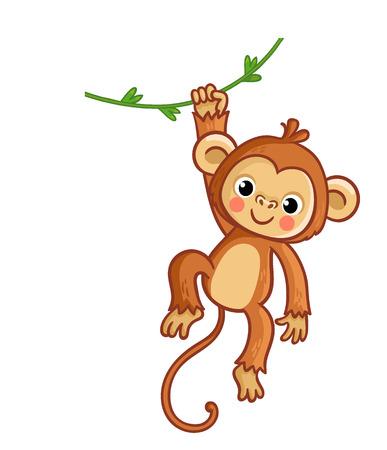 Mono colgando de liana. Ilustración de vector de estilo de dibujos animados. Animal lindo. Ilustración de vector