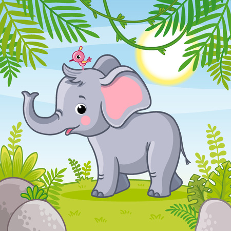 Baby elephant stands in a clearing. Vector illustration with animal in cartoon style.