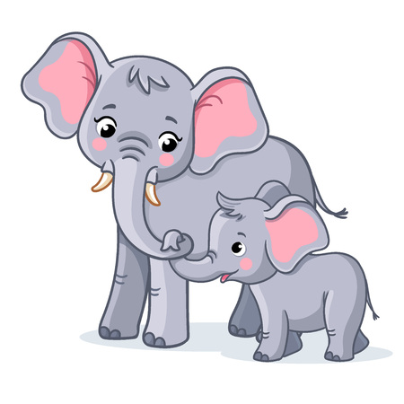 Family of elephants on a white background. Cute african animals in cartoon style.