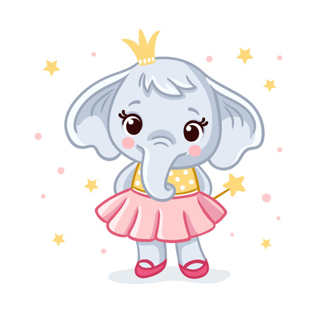 Baby elephant in a beautiful dress. Vector illustration with cute elephant princess. Cute african animal in cartoon style. Ilustração