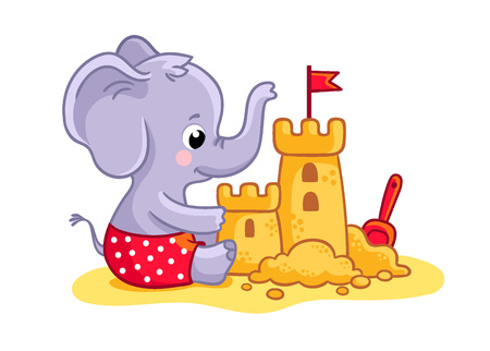 Little elephant plays on the beach in the sand. A cute animal builds a sand castle. Vector illustration.