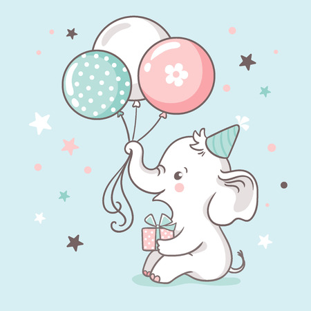 Cute white baby elephant holds a trunk of balloons. Baby shower invitation card. Vector illustration.