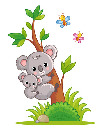 Koala with a cub on its back climbs a tree. Vector illustration with cute animal in cartoon style.