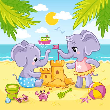 Baby elephants are playing in the sand on the beach against the backdrop of the sea and the ship. Cute animals are building a sand castle.