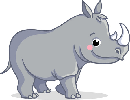 The little rhino is standing on a white background. Vector illustration of animal in cartoon style.