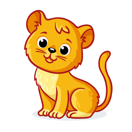 Young lion cub sits on a white background. Cute animal in cartoon style. Vector illustration.