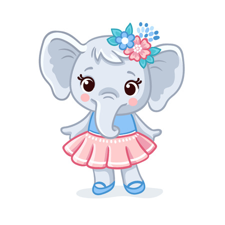 Baby elephant in a beautiful dress. Vector animal illustration. Cute elephant kid in cartoon style.