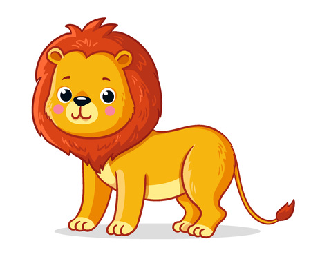 Young lion on a white background. Cute african animal in cartoon style. Vector illustration.