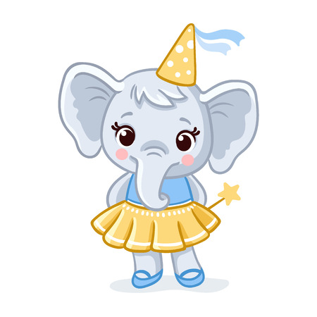 Little elephant stands in a beautiful yellow dress on a white background. Vector illustration with cute animal in cartoon style.