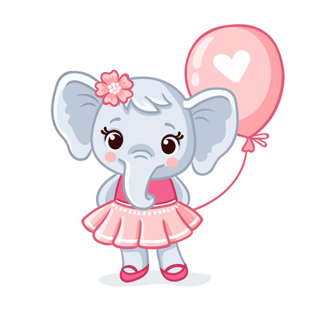 Small elephant stands in a beautiful pink dress on a white background. Cartoon animal with a balloon. Vector illustration.